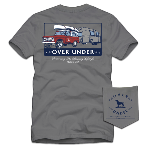 Over Under On The Road Again t-shirt has spot on styling and made in the USA. Shop Bennetts Clothing for the best names in mens outdoor clothing