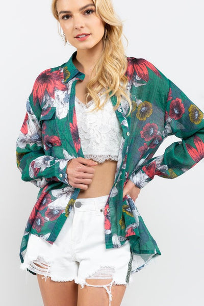 POL Floral Tropical Print Button Down-Hunter Green