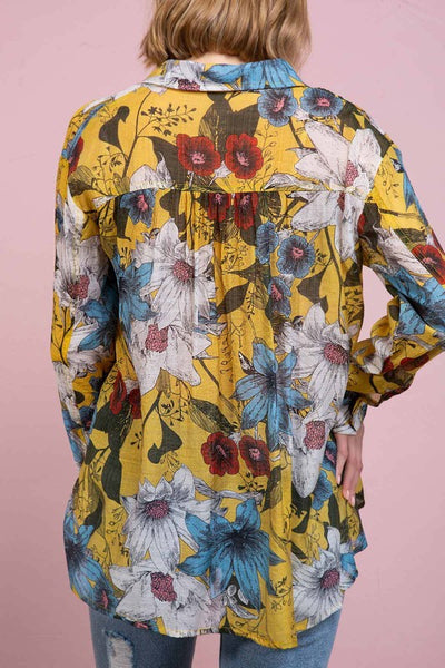 POL Floral Tropical Print Button Down-Yellow