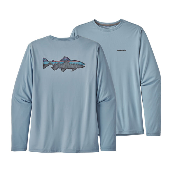 Patagonia Capilene Cool Fitz Roy Sketched Trout Long Sleeve Shirt-Berlin Blue