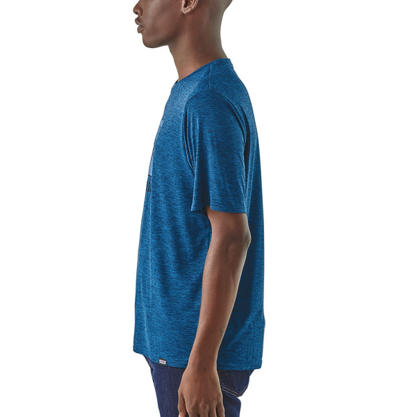 Patagonia Capilene Cool Line Logo Ridge Short Sleeve Shirt-Big Sur Blue
