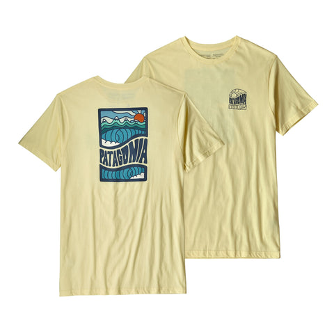 Patagonia Cosmic Peaks Organic t-shirt looks groovy in or outdoors! Shop Bennetts Clothing for a large selection of Patagonia menswear.