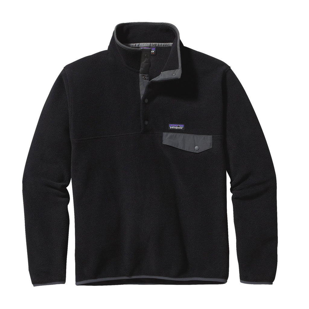 Patagonia Mens Lightweight Synchilla Snap-T Pullover-Black-Forge Grey - Bennett's Clothing