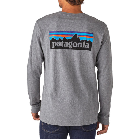 Patagonia Mens P6 Long Sleeve Logo T-Shirt-Gravel Heather - Bennett's Clothing - 1