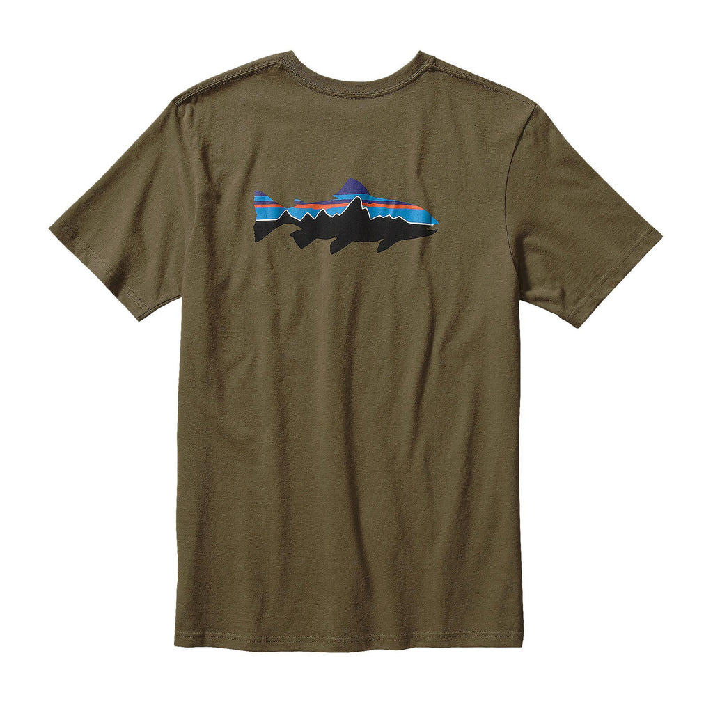Patagonia Men's Fitz Roy Trout Cotton T-Shirt-Fatigue Green - Bennett's Clothing