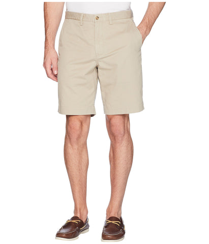 "Polo Men's Stretch Classic Fit 9"" Flat-Front Short-Stone-Khaki Tan"