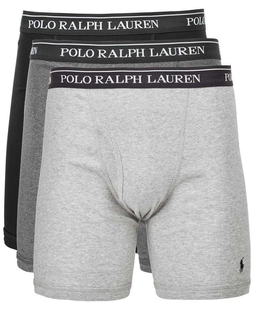 hot-selling newest footwear amazing quality Polo Ralph Lauren 3-Pack Boxer Briefs-Grey Multi