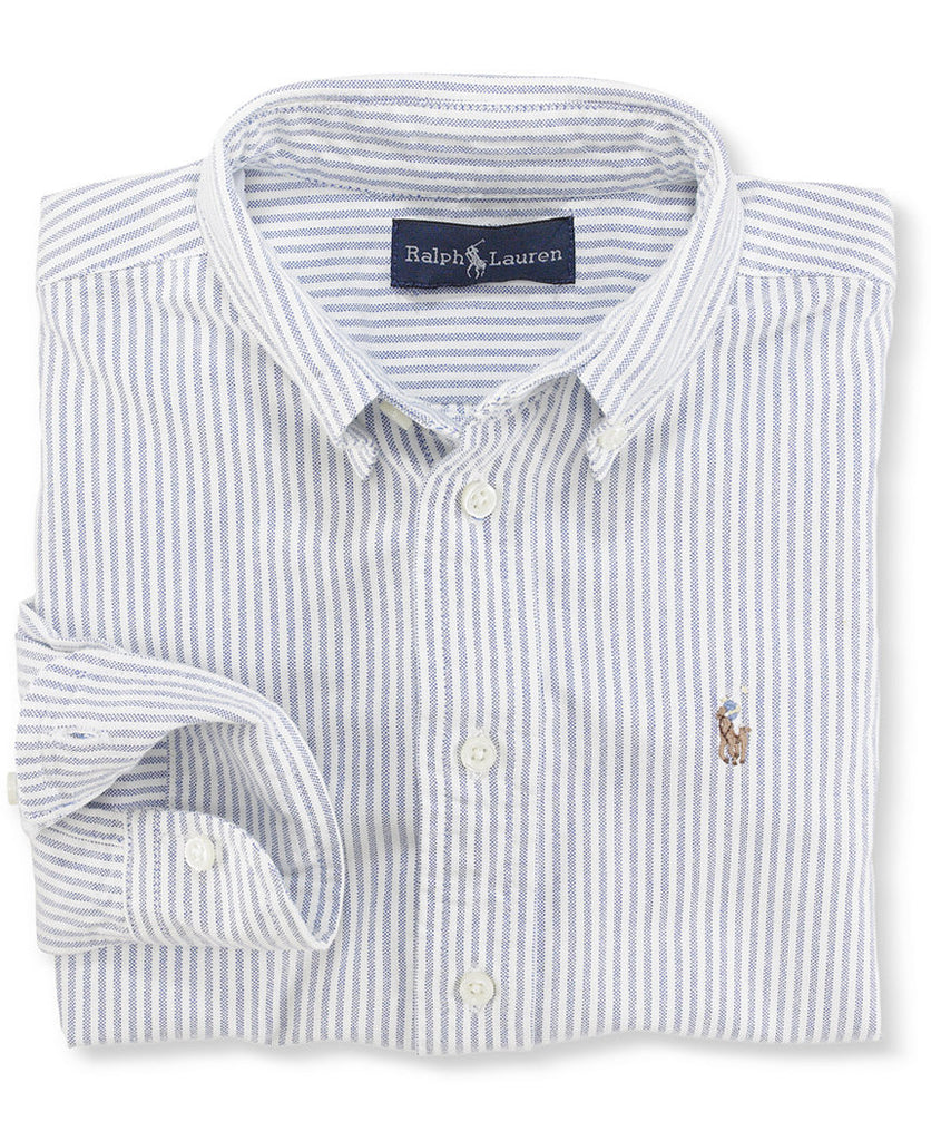 Ralph Lauren Boy's Blake Oxford button down-Blue Stripe - Bennett's Clothing - 1