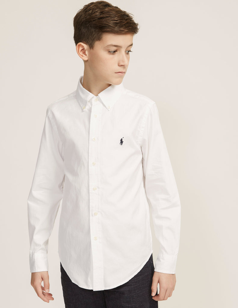 d97cc4a28 Ralph Lauren Boy's Blake Oxford button down-White - Bennett's Clothing - 1