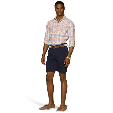 "Polo Ralph Lauren 9"" Pleated Short-Navy - Bennett's Clothing - 1"