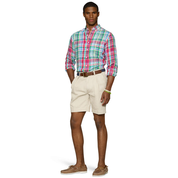 "Polo Ralph Lauren 9"" Pleated Short-Stone - Bennett's Clothing - 3"