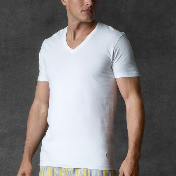 Polo Ralph Lauren Men's V-Neck Undershirt/3-Pack-White - Bennett's Clothing - 2
