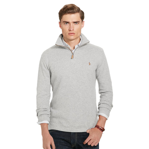 Polo Ralph Lauren Estate-Rib 1/4 Zip Cotton Pullover-Andover Heather - Bennett's Clothing - 1