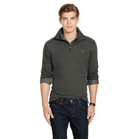 Polo Ralph Lauren Estate-Rib 1/4 Zip Cotton Pullover-Bristol Heather - Bennett's Clothing - 1