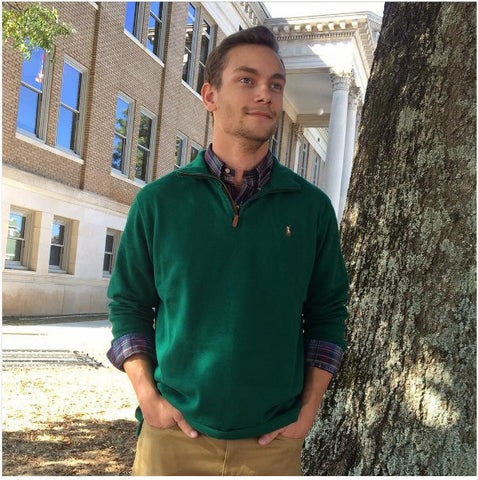 Polo Ralph Lauren Estate-Rib 1/4 Zip Cotton Pullover-Vermont Green - Bennett's Clothing - 1