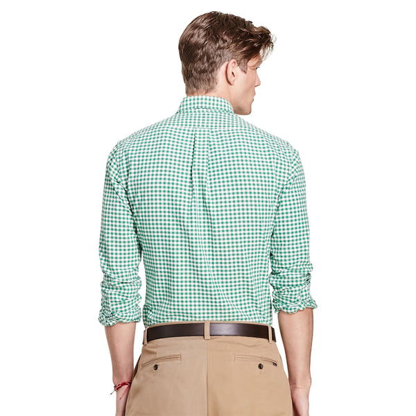 Polo Ralph Lauren Men's Long-Sleeve Gingham Oxford Shirt-Green-White - Bennett's Clothing - 2