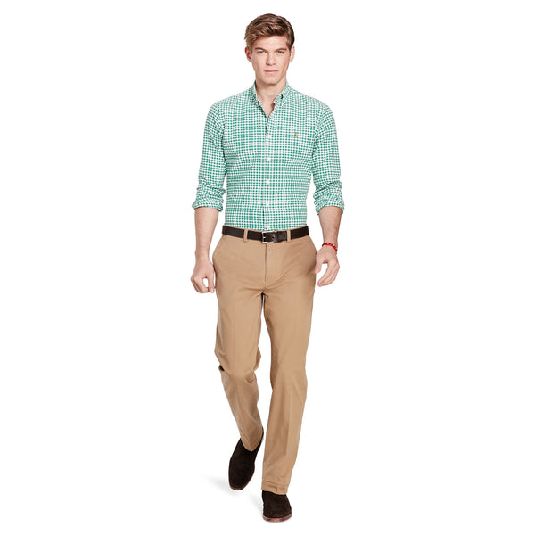 Polo Ralph Lauren Men's Long-Sleeve Gingham Oxford Shirt-Green-White - Bennett's Clothing - 4