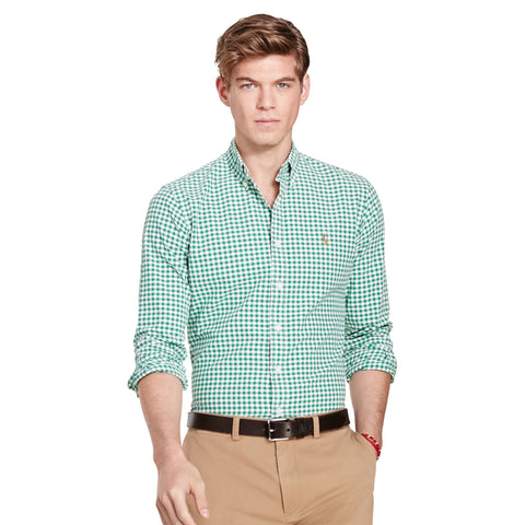 Polo Ralph Lauren Men's Long-Sleeve Gingham Oxford Shirt-Green-White - Bennett's Clothing - 1