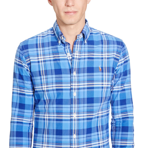 Polo Ralph Lauren Men's Long-Sleeve Oxford Shirt-Blue - Bennett's Clothing - 3
