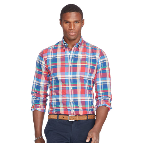 Polo Ralph Lauren Men's Long-Sleeve Oxford Shirt-Red-Blue - Bennett's Clothing - 1