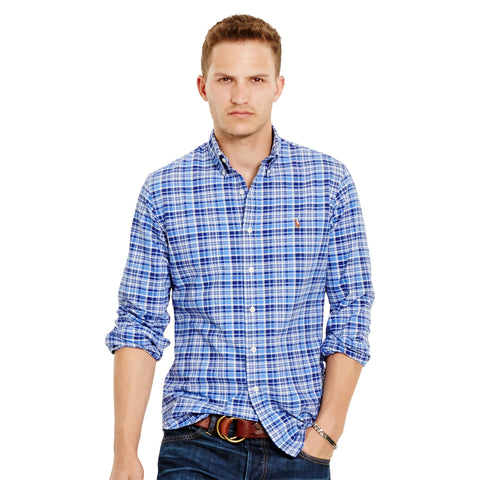 Polo Ralph Lauren Men's Long-Sleeve Plaid Oxford Shirt-Deep Blue - Bennett's Clothing - 1