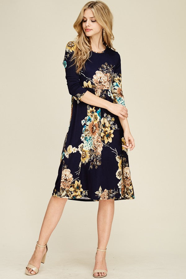 RebornJ 3/4 Floral Midi Dress-Black