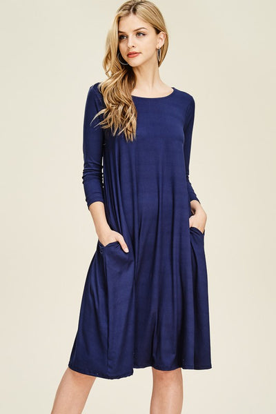 RebornJ 3/4 Sleeve Midi Dress-Navy