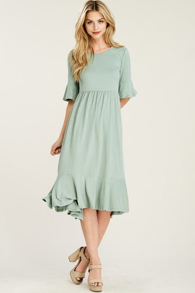 RebornJ Crop Bell Sleeve Midi Dress-Mint