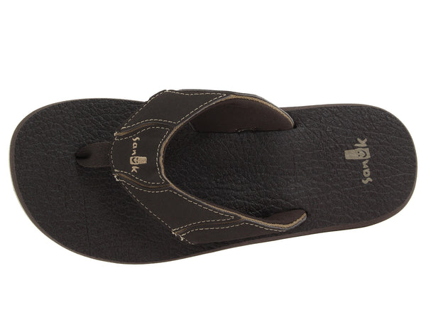 Sanuk Men's Fault Line Flip-Flop-Brown - Bennett's Clothing - 6
