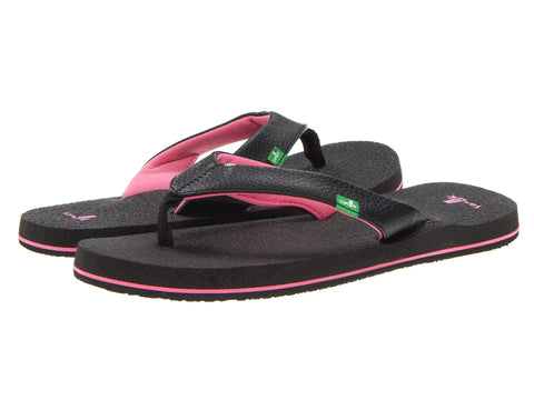 Sanuk Girls Yoga Mat Flip-Flops-Black/Pink