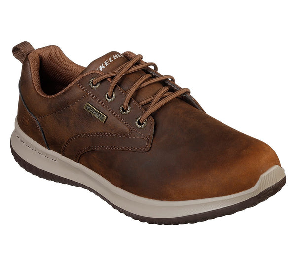 Skechers Delson Antigo waterproof oxford for men has sporty styling and comfy fit that you will love. Bennetts Clothing for a large selection of mens shoes with great prices and same day shipping