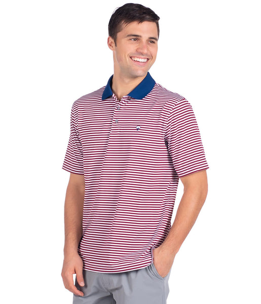 Southern Shirt Company Peabody Stripe Performance Polo-Uncle Sam