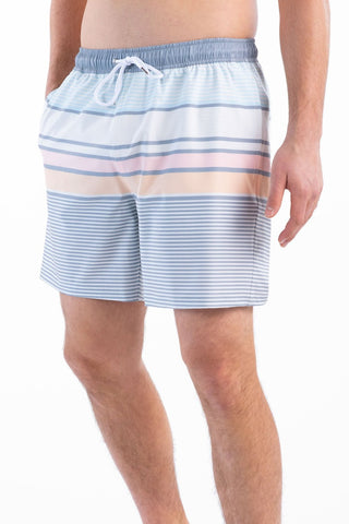 Southern Shirt Company Neo Stripe Swim trunks stand out in the crowd. Stylish, functional shorts and mens clothing can be found at Bennetts where the customer is #1 and gets same day shipping to your front door.