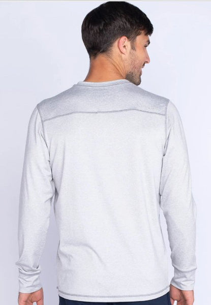 Southern Shirt Summit Henley Long Sleeve Pullover-Stone