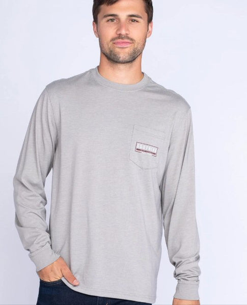 Southern Shirt Mountain Stamp Long Sleeve Tee-Wild Dove