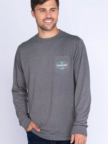 Southern Shirt Tricolor Trout Long Sleeve Tee-Pewter