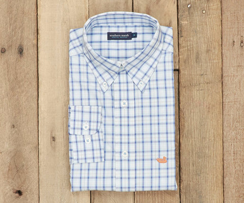 Southern Marsh Bainbridge Check Dress Shirt-Navy & Blue