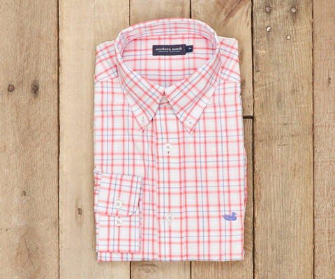 Southern Marsh Bainbridge Check Dress Shirt-Coral-Lilac