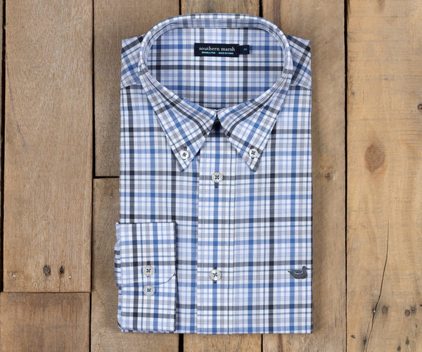 Southern Marsh Calhoun Check Sport Shirt-Navy-French Blue