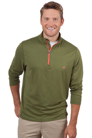 Southern Tide Pop Color Performance 1/4 Zip Pullover-Cypress - Bennett's Clothing - 1