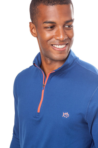 Southern Tide Pop Color Performance 1/4 Zip Pullover-Yacht Blue - Bennett's Clothing - 2