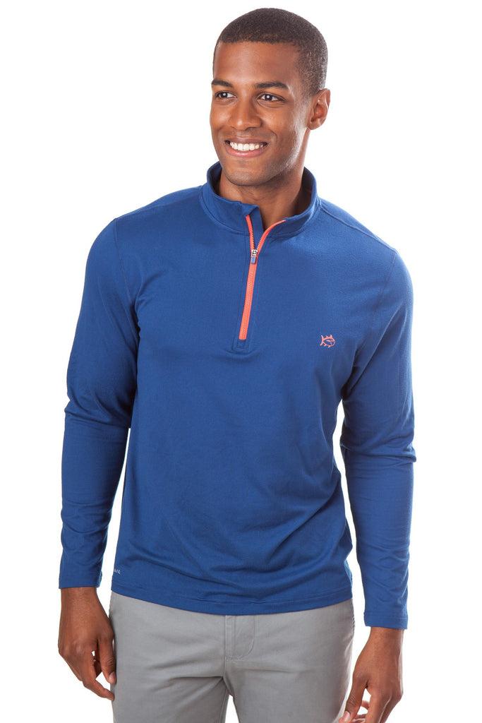 Southern Tide Pop Color Performance 1/4 Zip Pullover-Yacht Blue - Bennett's Clothing - 1