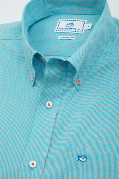 Southern Tide South of Broad Plaid Sport Shirt-Scuba Blue - Bennett's Clothing - 2