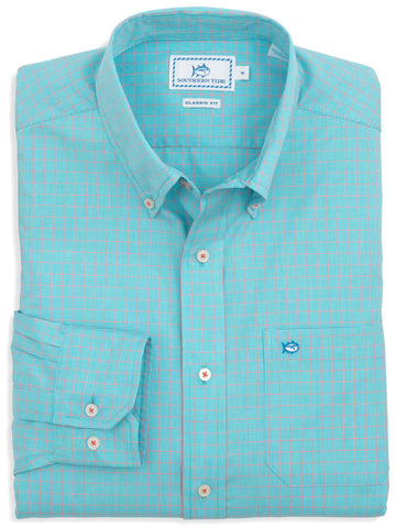 Southern Tide South of Broad Plaid Sport Shirt-Scuba Blue - Bennett's Clothing - 1