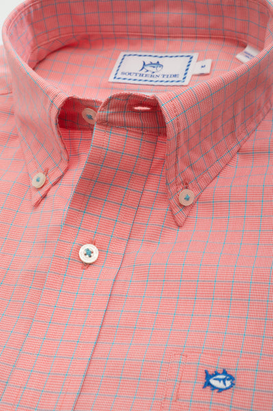 Southern Tide South of Broad Plaid Sport Shirt-Sunset - Bennett's Clothing - 2