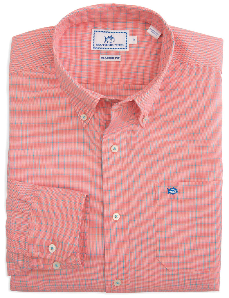 Southern Tide South of Broad Plaid Sport Shirt-Sunset - Bennett's Clothing - 1