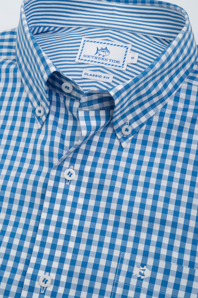 Southern Tide Broughton Gingham Sport Shirt-Royal Blue - Bennett's Clothing - 2