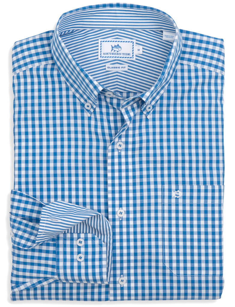Southern Tide Broughton Gingham Sport Shirt-Royal Blue - Bennett's Clothing - 1