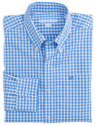 Southern Tide Classic Gingham Sport Shirt-Charting Blue