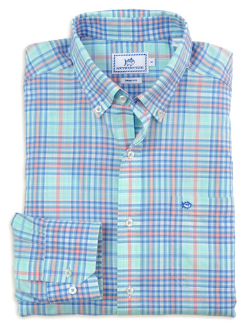 Southern Tide Ocean Isle Plaid Sport Shirt-Offshore Green - Bennett's Clothing - 1